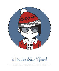 Holiday card  Hipster New Year with Santa Claus in red hat