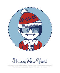 Holiday card with hipster Santa in red knitted hat and glasses