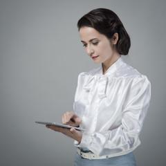 Vintage secretary using tablet