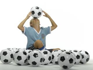 Junge, Kind balanciert Fußball auf der Stirn