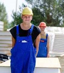Workmen on a building site