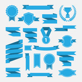 Fototapety Blue ribbons,medal,award,cup set isolated on white background.