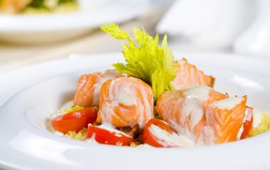 Delicious salmon salad
