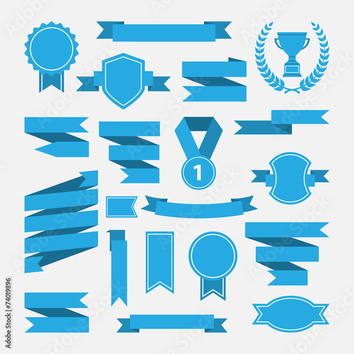 Blue ribbons,medal,award,cup set isolated on white background. - 74019896
