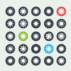 White sun icons set
