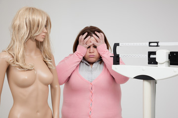 Woman frustrated by overweight