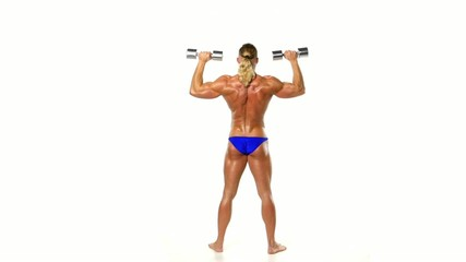 Man makes exercises dumbbells. Sport, power, dumbbells, tension