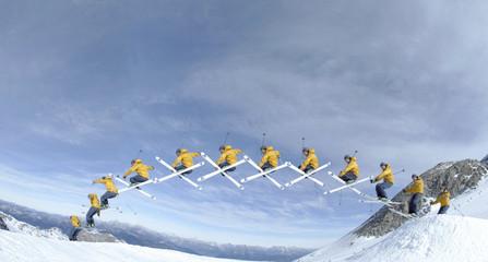 Skier, Sprung, Seitenansicht