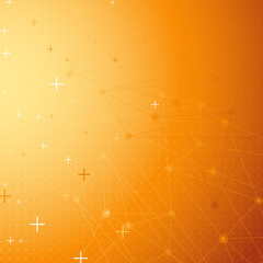 Orange net connection dot abstract background