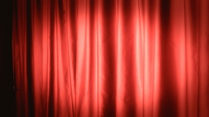 Background establishing shot curtain red left
