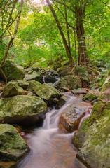 Waterfall in deep rain forest jungle. Krok E Dok Waterfall Sarab