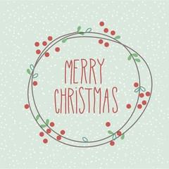 Merry Christmas Doodle Festive Wreath