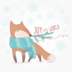 Joy To The World Doodle Christmas Card With Cute Fox