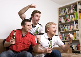 Fußball, Fans, Fussballfans schauen Spiel im Fernsehen
