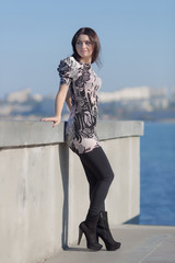 Attractive woman on seafront