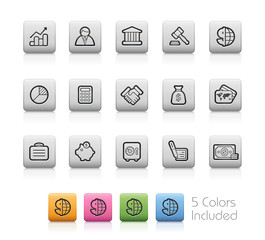 Business and Finance Icons -- Outline Buttons