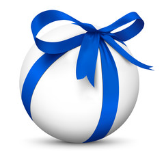 Weiße Kugel, blaue Schleife, Geschenk, Überraschung, Bescherung