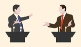 Debate two speakers. Political speeches debates