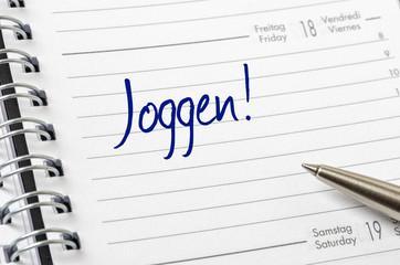 Terminkalender mit dem Eintrag Joggen
