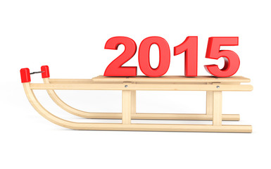 Classic Wooden Sled with 2015 New Year Sign
