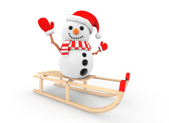 Snowman over Wooden Sledge