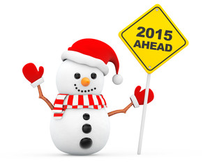 Snowman with 2015 New Year Ahead Sign