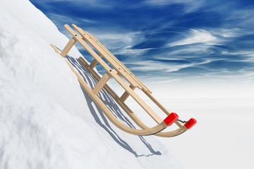 Sliding sledge in snow