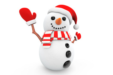 Snowman with santa hat and gloves