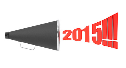 Black Vintage Megaphone with 2015 year Sign