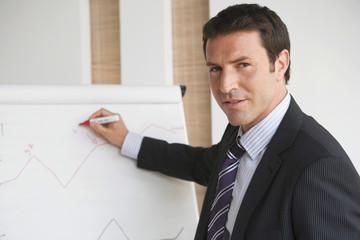Geschäftsmann Mann Schreiben auf Flipchart