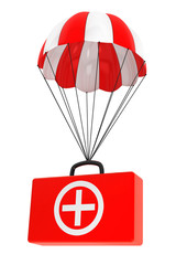 Parachute with First Aid Case on a white