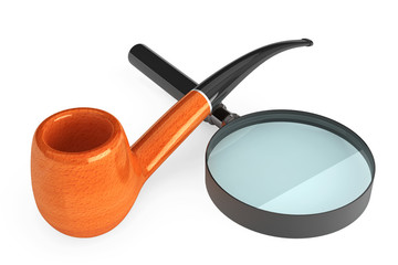 Tobacco Pipe with Magnifier Glass