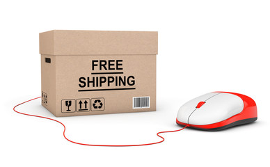 Free shipping Concept. Free Shipping Box connected to a Computer