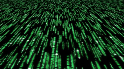 matrix code 3d - 30fps fast loop, green on black