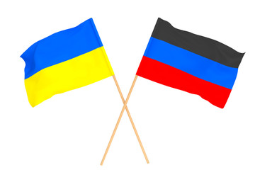 Flag of Donetsk People's Republic and Flag of Ukraine