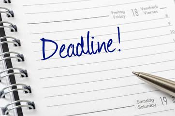 Terminkalender mit dem Eintrag Deadline