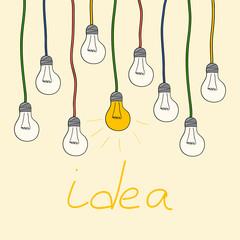 yellow light bulbs. idea concept