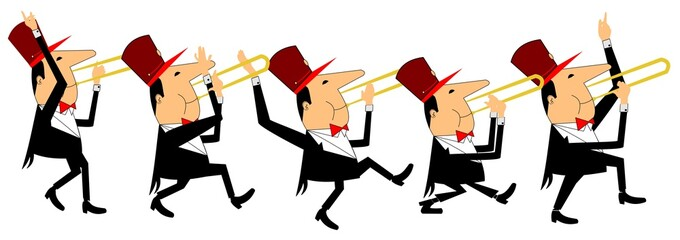 enthusiastic trombone players