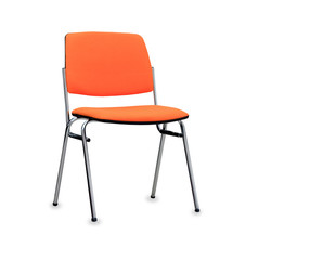 The orange office chair. Isolated