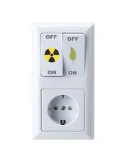 Steckdose und Schalter Atomstrom/Grüner Strom
