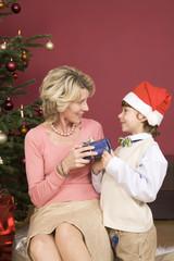Junge (4-7) geben Weihnachtsgeschenk für Großmutter, lächelnd