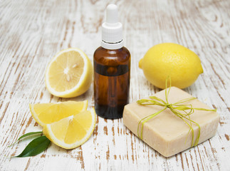 handmade lemon soap and essential oil