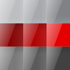 Gray and red shiny squares abstract background