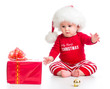 little girl weared santa clothes with gift box isolated