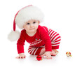 baby weared santa clothes isolated