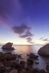 Rocky Coastline in Sunset