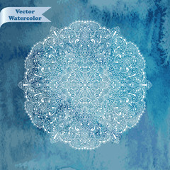 Vector Snowflake on  Watercolor Background