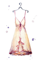 Watercolor nightgown Fashion illustration.