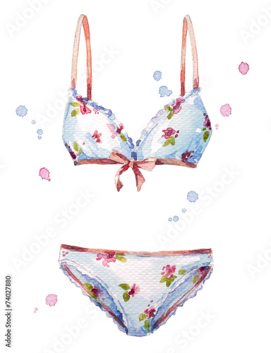 Watercolor lingerie Fashion illustration. - 74027880