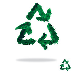 Oil painted recycling symbol